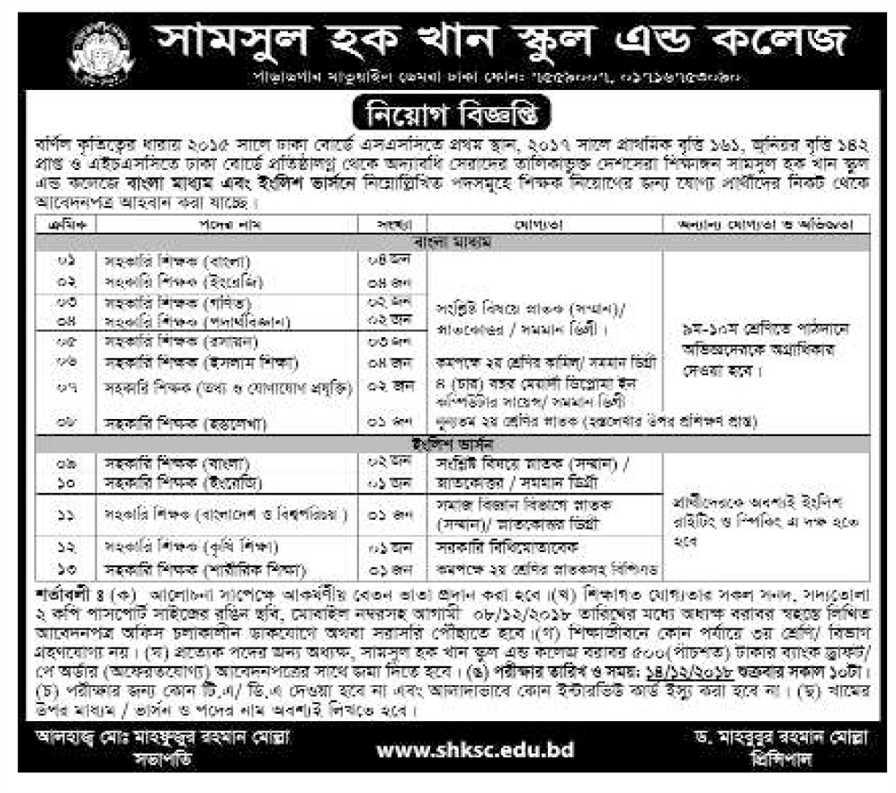 Shamsul Hoque Khan School & College Job Circular 2018 | www shksc