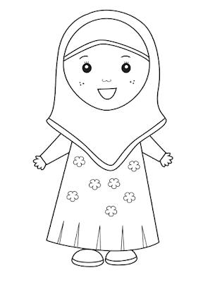 Gambar untuk mewarnai anak muslim - 9
