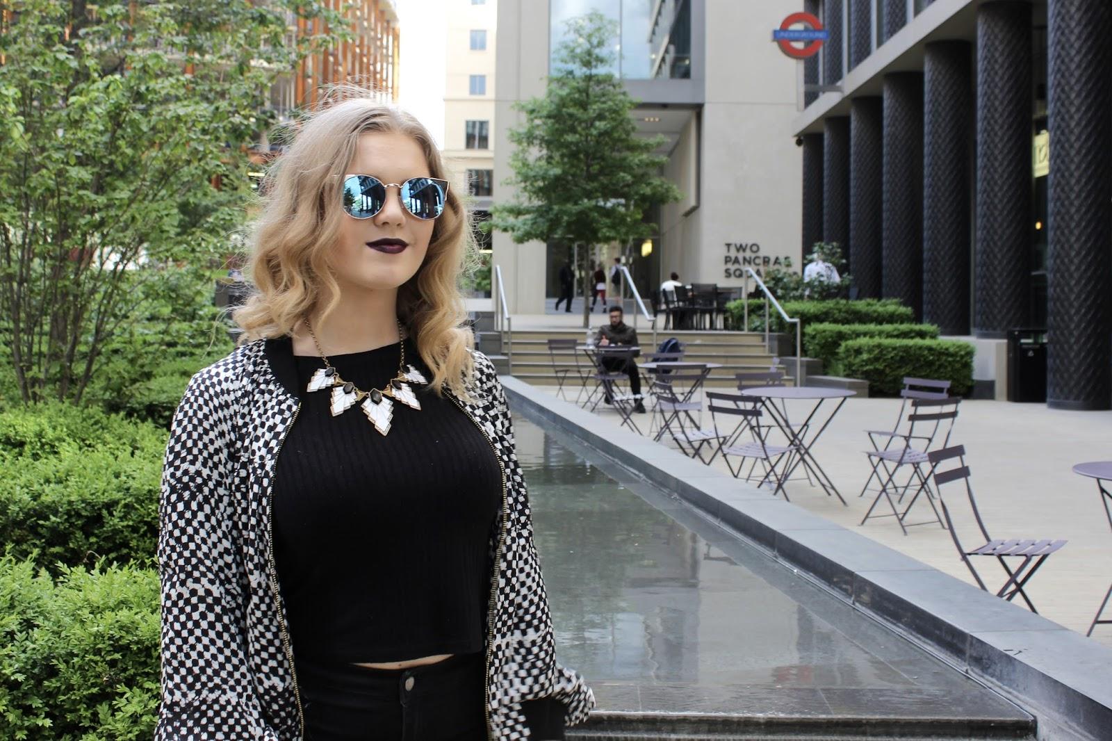 ootd fashion michael kors jacket  quay sunglasses topshop joni jeans nike air max thea blogger fashion