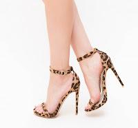 Sandale cu toc inalt cu leopard print