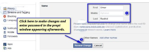 how to change your name on facebook on pc