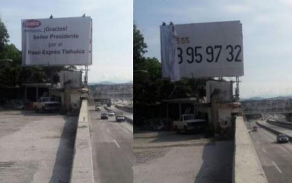 Después de la tragedia en el Paso Exprés Tlahuica retiran anuncio en el que se agradecía a EPN.