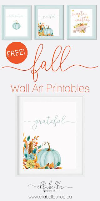 Free Fall Pumpkin Wall Art Printables