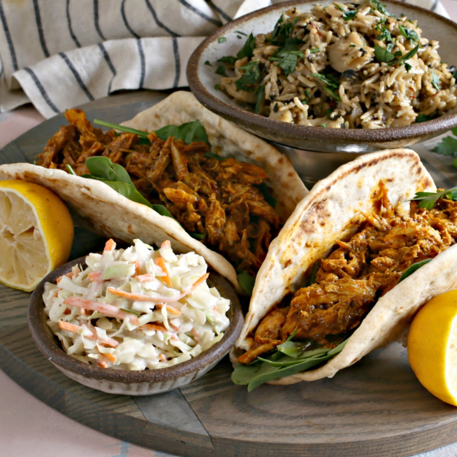 Chicken tacos in flavorful shawarma sauce with tahini slaw.
