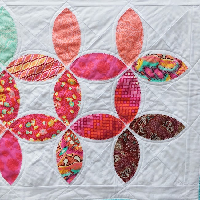 Tula Pink rainbow leaves quilt runner