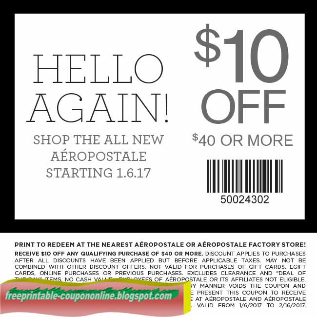 Save with 18 Aeropostale coupons and sales for December, Today's top offer: 80% Off. Coupon Sherpa, #1 in coupons. 5 listings for Aeropostale coupons on eBay. Buy Aeropostale coupons on eBay. 30% Off. Learn More. Aeropostale is a popular destination for juniors' fashion at great prices. This mall favorite has been setting the.