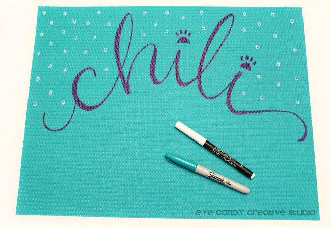 Chili the pup, Chalkboard marker, place mat from Target, dog craft
