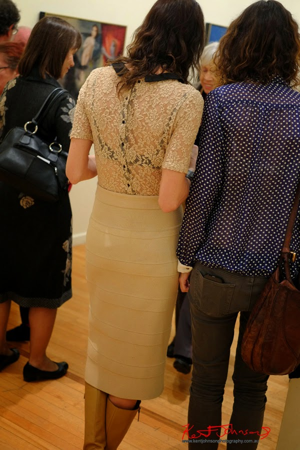 Gallery style watch - Lace blouse, spotted blouse, skirt, jeans. Street Fashion Sydney by Kent Johnson.