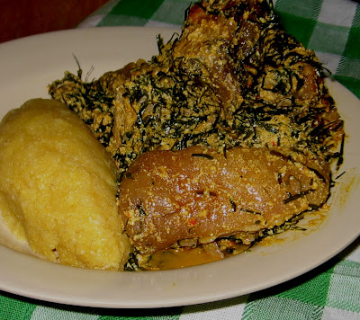 OKAZI EGUSI AFANG SOUP WITH EBA