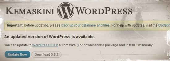 Kemaskini WordPress 3.3.2