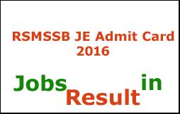 RSMSSB JE Admit Card 2016