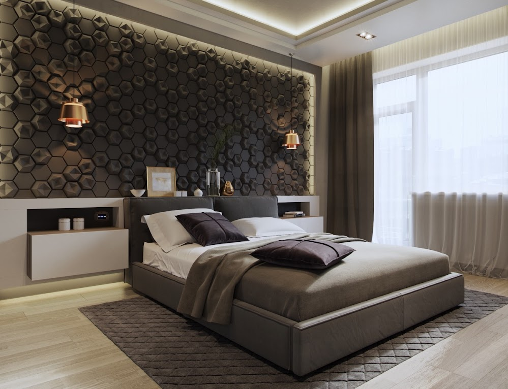 beehive-tile-design-sconces-feature-bedroom-accent-wall-patterns