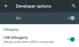 تفعيل خيار USB debugging من خيارات المطور على موبايلات أندرويد