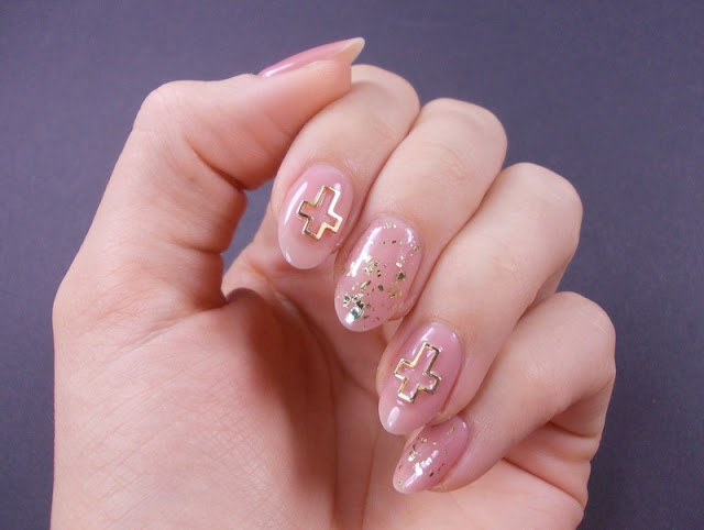 madam glam simple tan gold flakies bsp cross nail art