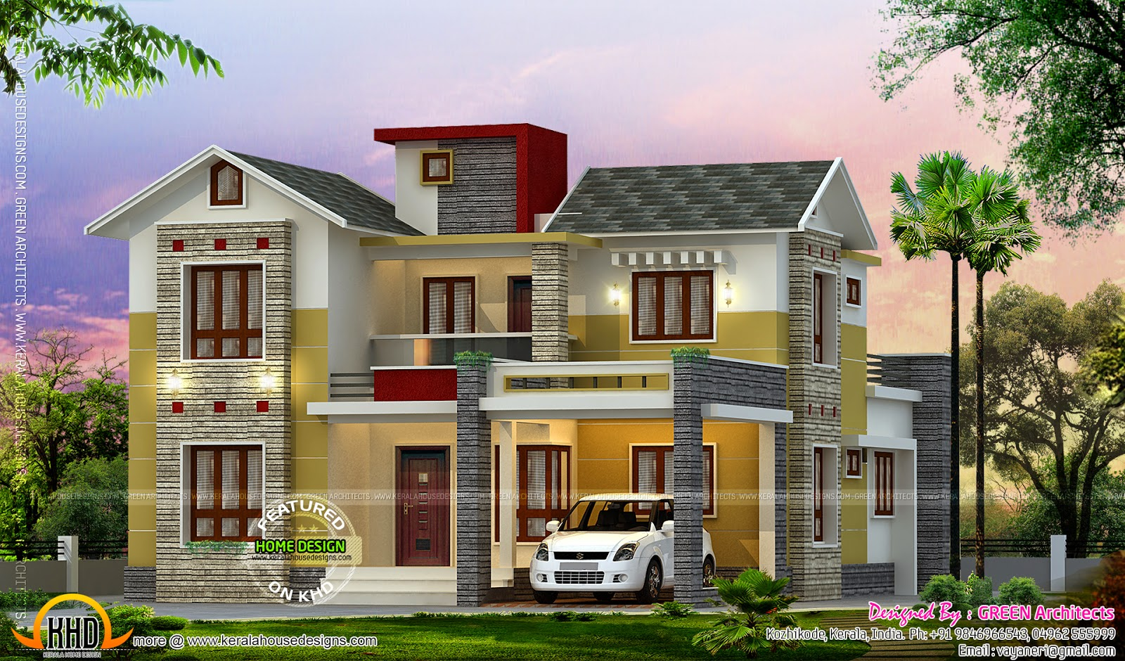 4 bedroom house kerala home design and floor plans for Parapet house plans
