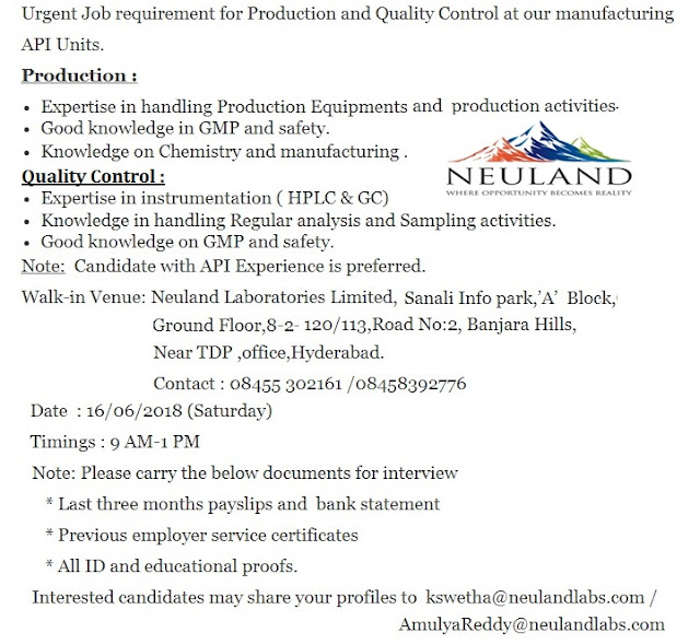 Neuland Laboratories Ltd. Walk In Interview for Quality Control, Production  at 16  June