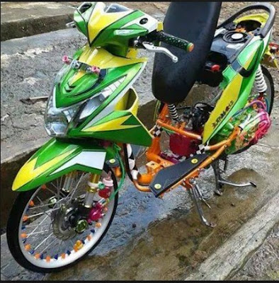 Modifikasi Honda Beat Full Airbrush Hijau