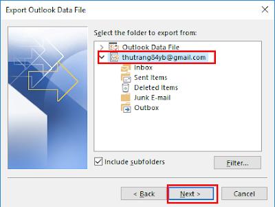 Backup dữ liệu Outlook 2016 - H04