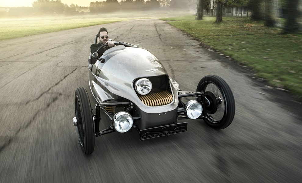 Morgan EV3 being driven towards the camera