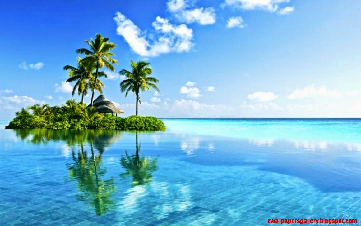 3d Dual Screen Wallpaper Tropical Island Paradise Wallpaper Wallpapers Gallery