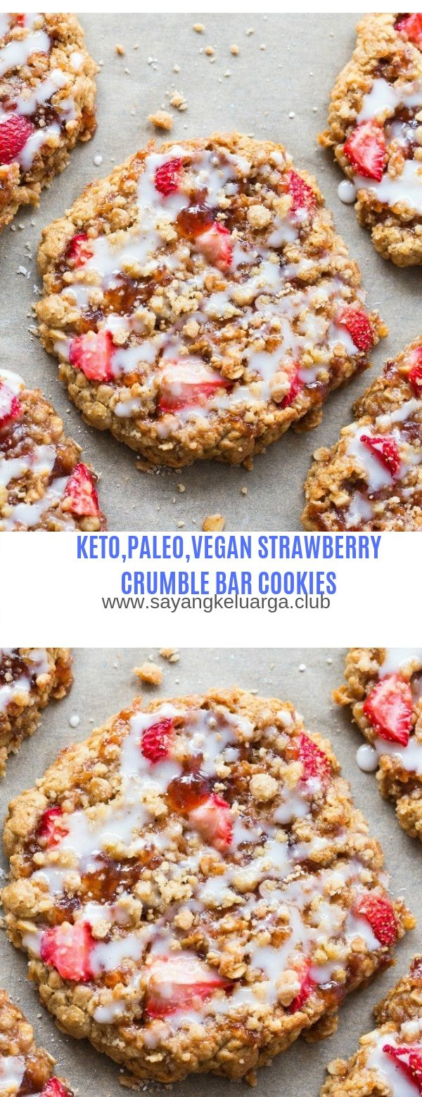 KETO,PALEO,VEGAN-STRAWBERRY CRUMBLE BAR COOKIES