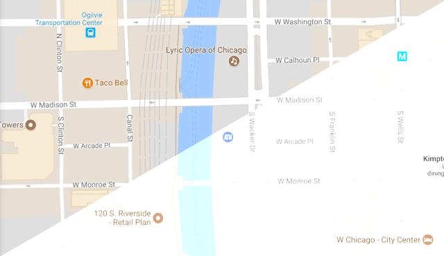 división de una pantalla de google maps con mas contraste y menos