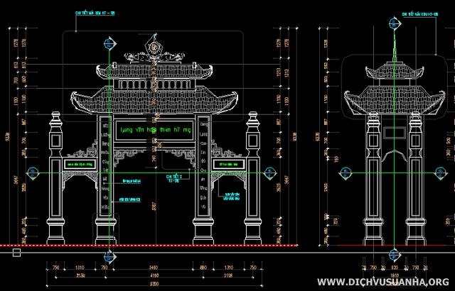 Bản vẽ CAD thiết kể cổng làng đẹp
