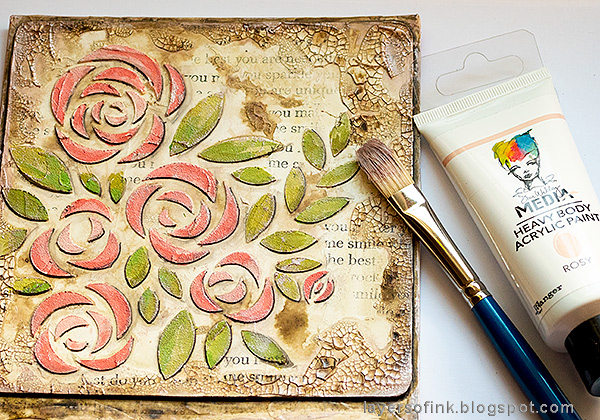 Layers of ink - Roses Mixed Media Panel Tutorial by Anna-Karin Evaldsson. Add metallic paint.