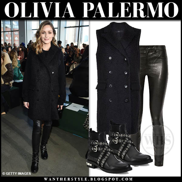 Olivia Palermo wears black sleeveless wool tibi coat, black leather j brand pants and black studded miu miu biker boots fashion week outfits 2019