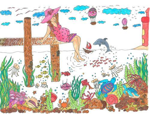 ausmalbücher für erwachsene landschaften  strand und
