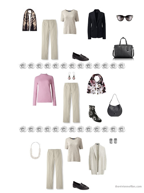 3 ways to wear taupe or beige pants from a dressy 4 by 4 Wardrobe in black, taupe and pink