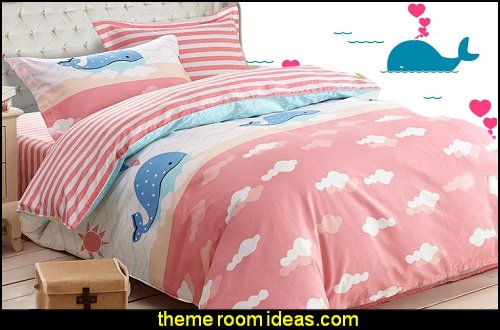 Blue Whale Print 3-Piece Cotton Duvet Cover Sets whale mural