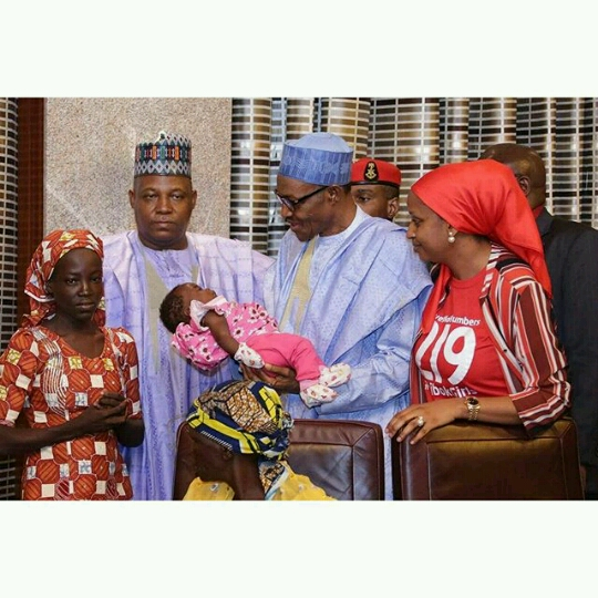 President Buhari,Governor Shettima of Borno state and found Chibok girl Amina Ali