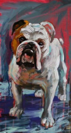 painting of a bull dog, dog painting, debbie miller