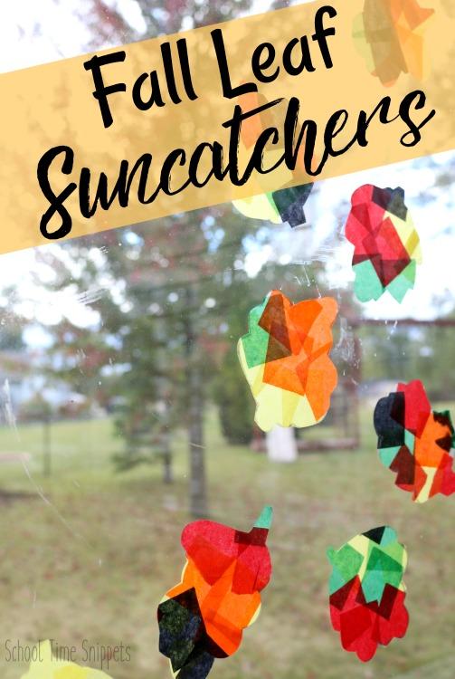 fall leaf tissue paper suncatchers