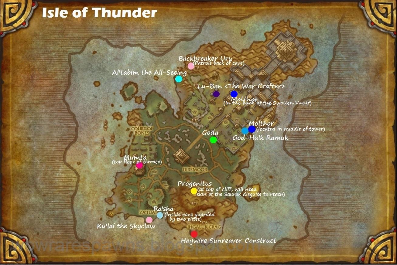 WoW Rare Spawns: Isle of Thunder Rare Spawns