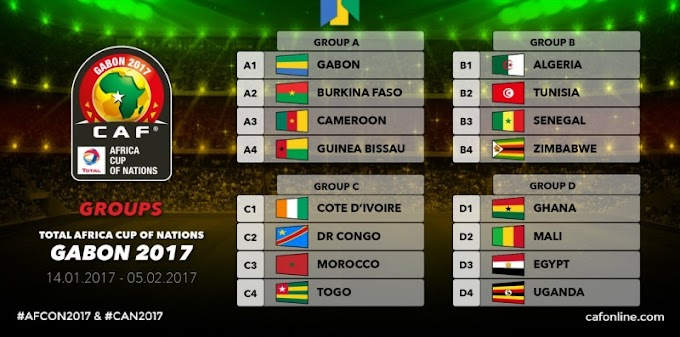 2017 AFCON: Ghana to face Uganda, Egypt, Mali