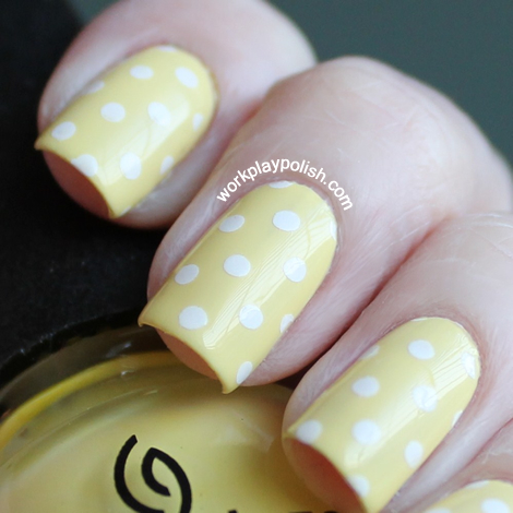China Glaze Lemon Fizz Polka Dot Nail Art