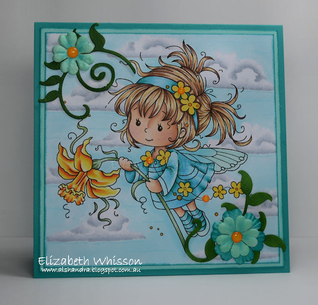 Elizabeth Whisson, Alshandra, Copic, outdoor background, cloud, Whimsy Stamps, Daphne, fairy, turquoise, handmade card