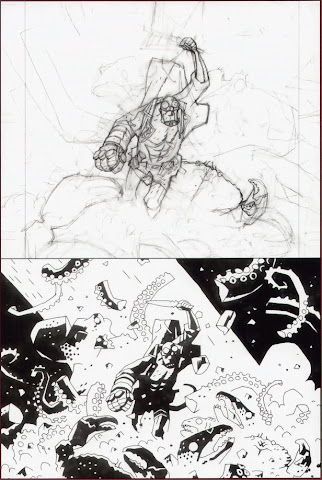 Rampaging Hellboy, in sketches and after