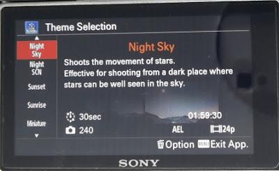 Pilihan Mode Theme Night Sky Pada Pembuatan Video Timelapse Menggunakan Sony A6000