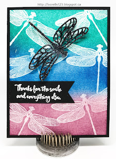 Linda Vich Creates: Dragonfly Dreams Thank You. A vibrantly blended background with emboss resist dragonflies sets the stage for a magnificent shimmery die cut black dragonfly on this thank you card.