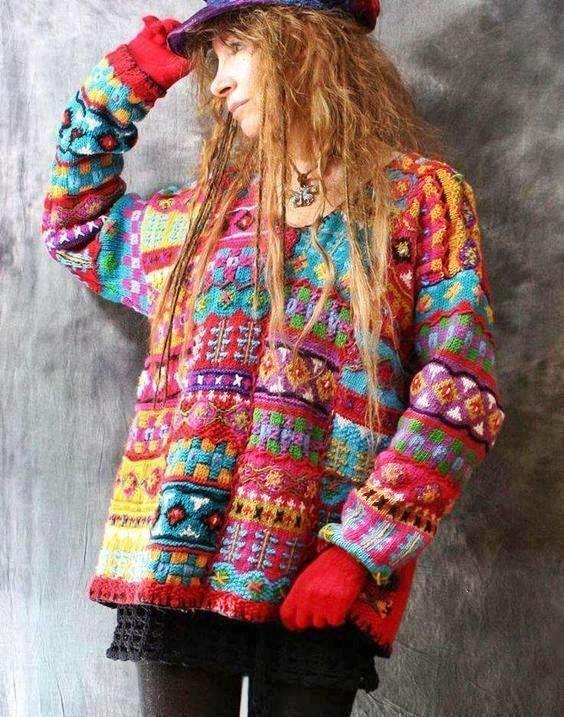 sweter żakardowy na drutach