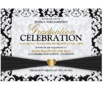 Black/Gold Heart Graduation Party Invitation
