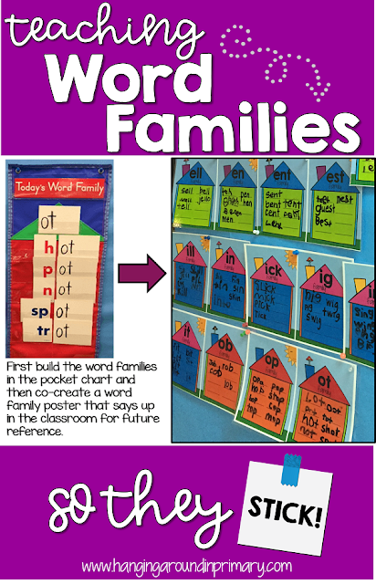Teaching word families is a great way to empower young readers to see that they can read lots of words. Having students build the words in each of the word families makes it a more meaningful way to create anchor charts that they will continue to use. Click to read about different ways to engage kids in learning to read and spell word family words.