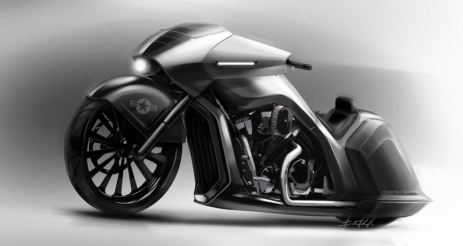 sr 28 custom motorcycle based on honda vtx 1800 [ 1600 x 852 Pixel ]