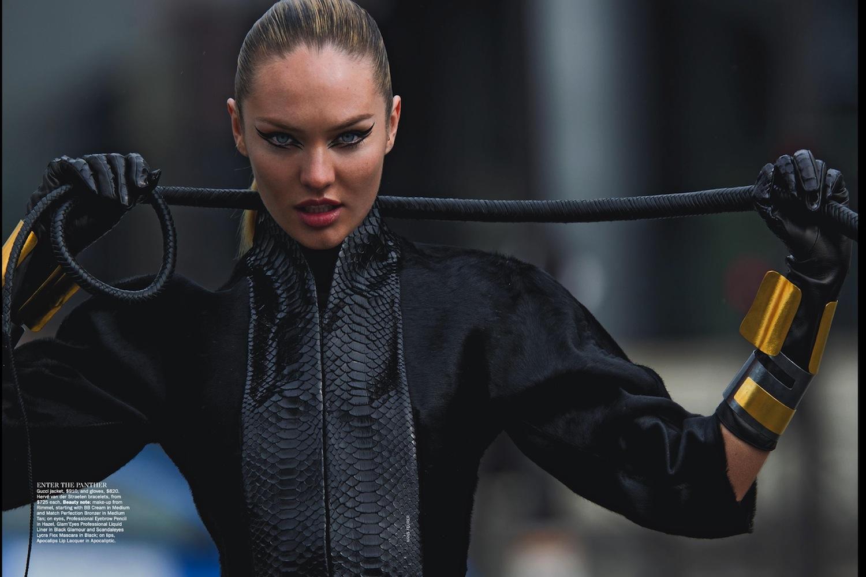 Black leather gloves australia - Candice Swanepoel In Vogue Australia June 2013 By Hans Feuer
