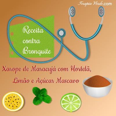 Receita contra bronquite:xarope de maracujá com hortelã, limão e açúcar mascavo