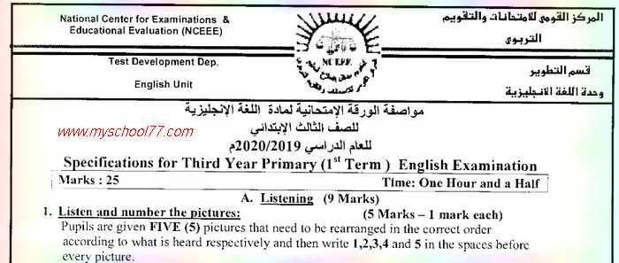 مواصفات الورقة الامتحانية  لغة انجليزية  للصفوف الثالث والرابع والخامس والسادس الابتدائي للعام الدراسي 2020