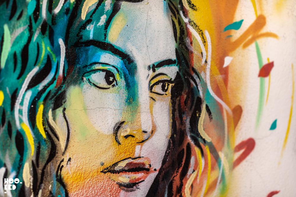 Close-up detail of one of Alice Pasquini Street Art pieces in Civitacampomarano, Italy